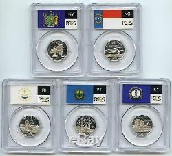 2001 SILVER Rhode Island (RI NC NY VT KY) Proof PCGS PR70DCAM Flag 5-Coin Set