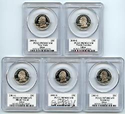 2001 SILVER State Flag 5-Coin (RI NC NY VT KY) Proof Set PCGS PR70 DCAM Quarter
