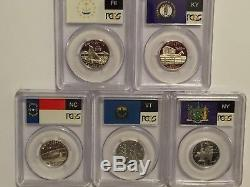 2001 SILVER State Flag 5-Coin (RI NC NY VT KY) Proof Set PCGS PR70 DCAM Quarters