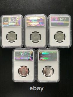 2001- S 25c Silver Set Ngc- Pr-70uc Rare