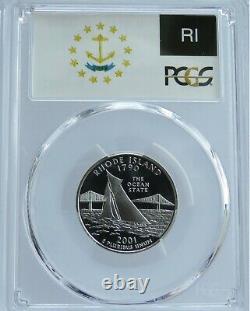 2001-s Silver Washington Quarter Set State Series Flag Label Pcgs Pr70dcam F#s01
