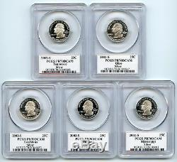 2002-S (Indiana OH TN LA MS) SILVER PCGS PR70DCAM Flag Quarter 5 Coin Proof Set