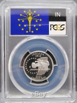 2002 S Indiana Silver PCGS PR 70 DCAM Flag label