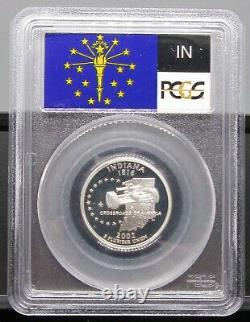 2002 S Indiana Silver PCGS PR 70 DCAM Flag label