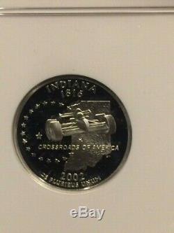 2002-S Indiana Silver Quarter Proof NGC PF-70 Ultra Cameo RARE