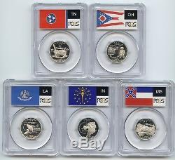 2002-S Silver State Quarter 5 Coin Proof Set PCGS PR70 DCAM 25C PR70DCAM