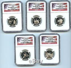 2002 S State Silver Quarter NGC Graded PF70 UCAMEO 5 Quarter Coin Set