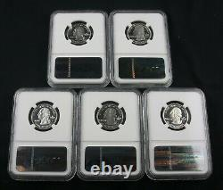 2002 S State Silver Quarter Proof 5 Coin Set Ngc Pf 70