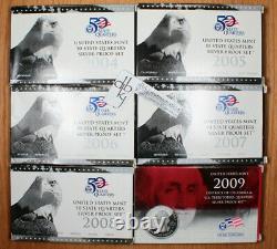 2004 2005 2006 2007 2008 2009 S 50-State Quarter Silver Proof Sets OGP
