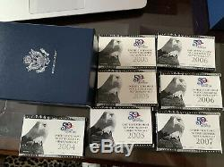 2004, 2005 (3), 2006 (2) & 2007 US Mint 50 State Quarters Silver Proof 7 Sets