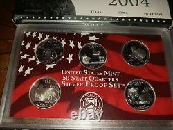 2004 2007 US Mint 50 State Quarters Silver Proof Set