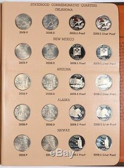 2004-2008 P/D/S Proof Statehood Quarter Dansco 100 Coins with Silver Proofs