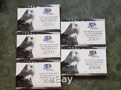 2004-2008 Silver Proof State Quarter 25 Coins 5 Sets Coa Box 90% Silver Us Mint