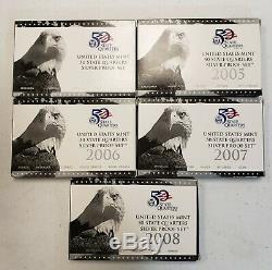 2004 2008 State Quarter Silver Proof Set Lot United States Mint Box COA