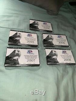 2004-2008 United States Mint 50 States Quarters Silver Proof Sets