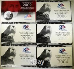 2004-2009 U. S. Mint State Quarters Silver Proof Sets