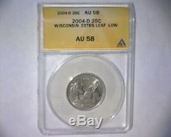 2004 D Washington Quarter EXTRA LOW LEAF WI. STATE FS-5902 ANACS US ERROR COIN