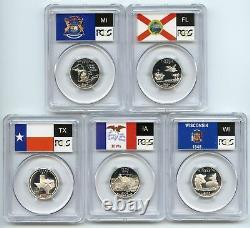 2004 SILVER Quarter (TX Michigan IA WI FL) State Flag 5 Coin Set PCGS PR70DCAM