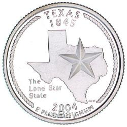 2004-S Texas Silver Proof Quarter roll 40 GEM coins tube $10 Face Value