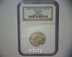2004 Washington Quarter Extra Leaf Low Wisconsin State Us Error Coin Rare