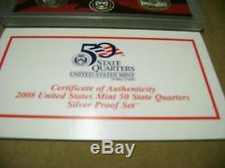 2004 to 2008 State Quarter Silver Proof Set Lot US Mint Packages with COAs