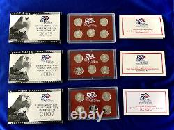 2005 2006 2007 US Mint 50 State Quarter Silver Proof Sets withCOAs+ Boxes 15 Coins