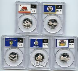 2005 SILVER State Flag 5-Coin (CA OR KS MN WV) Proof Set PCGS PR70 DCAM Quarters