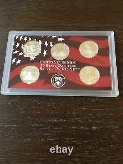 2005 Thru 2008 US MINT 50 State Quarters Silver Proof Sets With COA Lot of 4