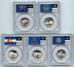 2006 SILVER Colorado Nebraska Nevada Dakotas State Flag Set 5-Coin PCGS PR70DCAM