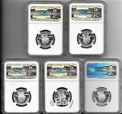 2006-S Silver Proof State Quarter 25c NGC PF70 UCAM 5 Coin Set