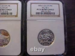 2006 S State Quarter Silver Proof 5 Coin Set Ngc Pf 70 Ultra Cameovery Nice