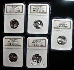 2006-s Silver Statehood Quarters Ngc Pf 70 Ultra Cameo 5 Coins Year Set