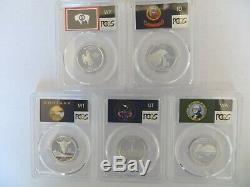 2007 SILVER (Wyoming ID MT WA UT) Flag 5-Coin Proof Set PCGS PR70 DCAM Quarter