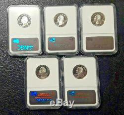 2007 S 25c Silver Quarter NGC PF70 Ultra Cameo 5 coin set WY, UT, WA, MT, ID