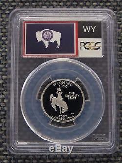 2007-S 25c Wyoming SILVER State Flag Label Quarter Proof PCGS PR70DCAM