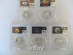 2007-S SILVER Quarter (Wyoming ID MT WA UT) State Flag 5 Coin Set PCGS PR70DCAM