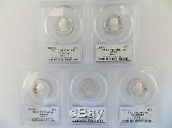 2007-S SILVER Quarter (Wyoming ID MT WA UT) State Flag 5 Coin Set PCGS PR70DCAM