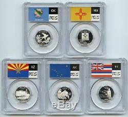 2008 SILVER State Flag 5-Coin (HI AK NM AZ OK) Proof Set PCGS PR70 DCAM Quarters