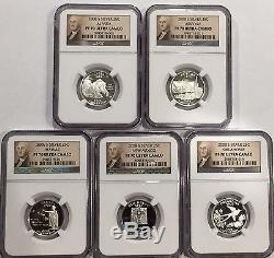 2008 S 5 Coin State Quarter Set NGC PF70 Ultra Cameo Silver Portrait Label
