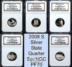2008 S Silver State Quarter Set NGC PF70 UCAM Proof 5 Coin Set