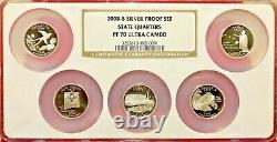 2008 S State Quarters Silver Proof Set Ngc Multi-slab Pf-70 Ultra Cameo