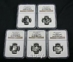 2008 S State Silver Quarter Proof 5 Coin Set Ngc Pf 70