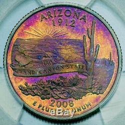 2008-S Washington Quarter Arizona SILVER 2-Sided Toning PCGS PR 65 DCAM (DR)
