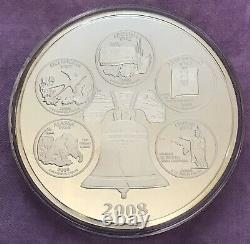 2008 State Quarters Commemorative 4 ozt. 999 Fine Silver Coin. Highland Mint