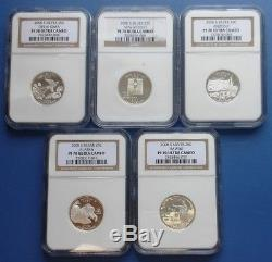 2008-s Silver State Quarter 5-coin Set. Proof. Ngc. Pf 70. Ultra Cameo