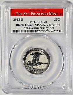 2018-S Block Island NP Silver PCGS PR70 Reverse Proof Quarter RLabel ed