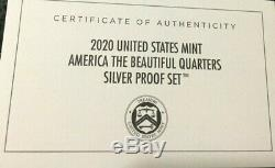 2020 UNITED STATES MINT AMERICA THE BEAUTIFUL QUARTERS SILVER PROOF SET with BOX