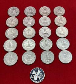 (20) 90% Silver Quarters pre-1964 + 1 Proof Silver State Quarter = $5.25 FV