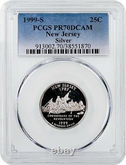 25 1999-S Silver New Jersey State Quarter PCGS PR70DCAM