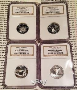 25 Silver Proof State Quarters 4-Coin Lot NGC PF70 UCAM Various Dates